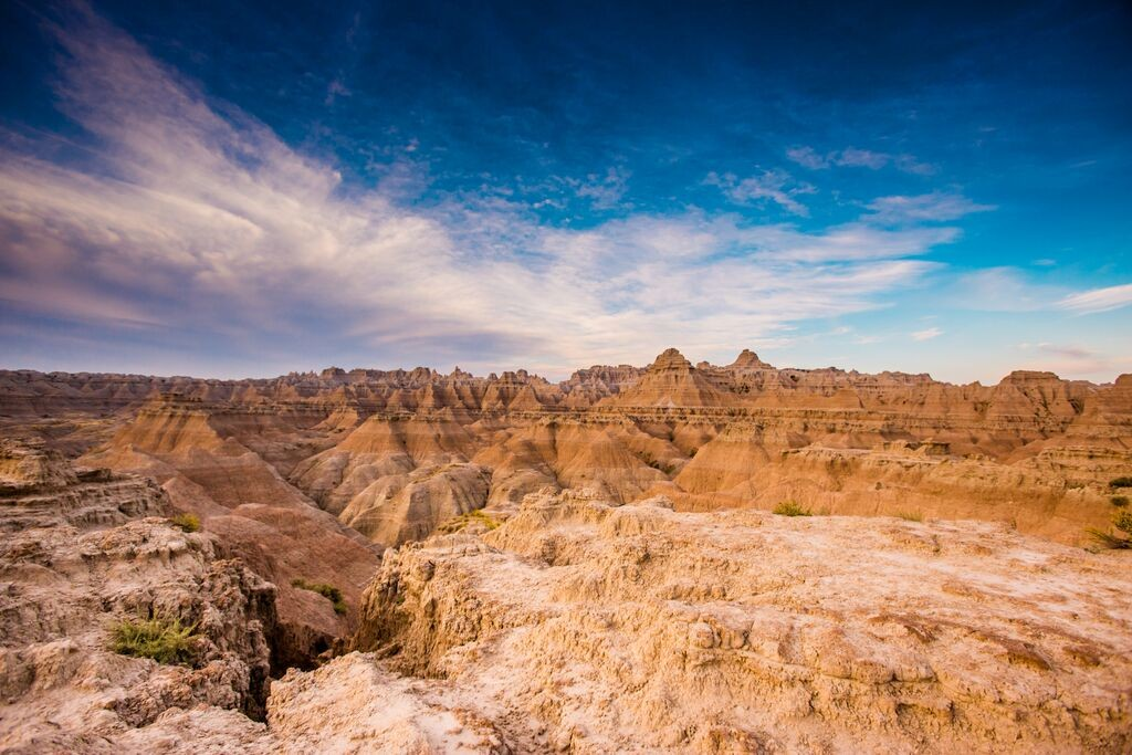 Sunrise over the Badlands Blue Sky