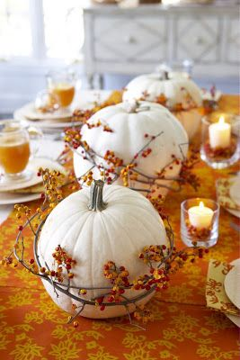 Wrapped Pumpkin Thanksgiving Tablescape