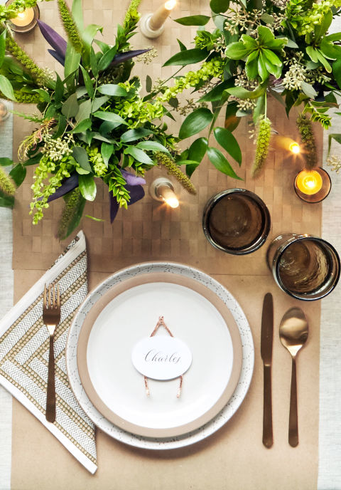 Rose Gold Wishbone Placecards