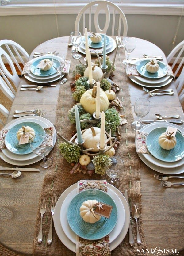 Beachy Coastal Thanksgiving Table