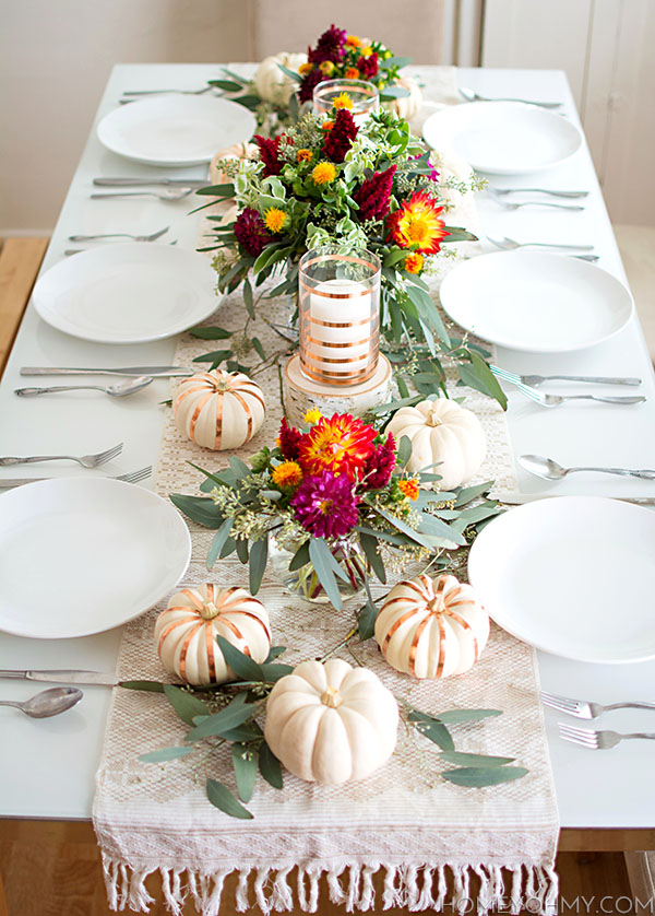 Striped Pumpkin Thanksgiving Table