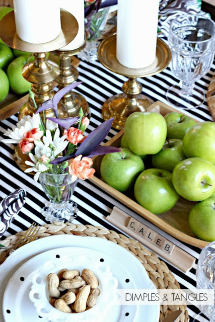 Striped Tablecloth Thanskgiving Table