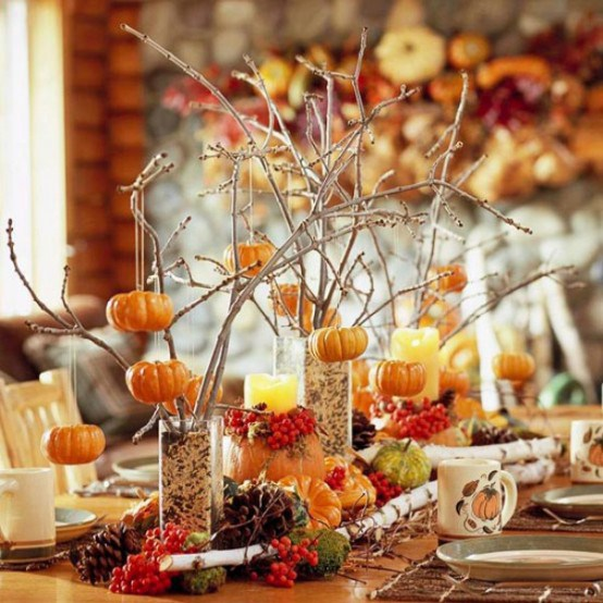 Pumpkin Ornaments on a Thanksgiving Table