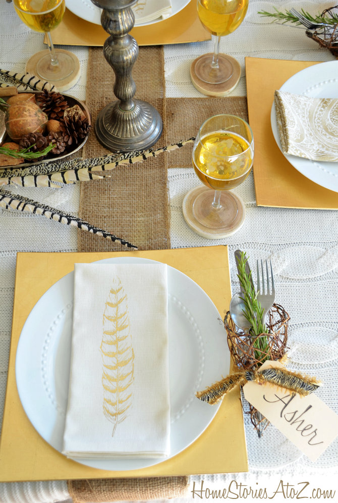 Feather Napkin Thanksgiving Table