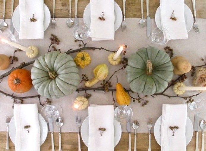 Green Pumpkin Thanksgiving Table