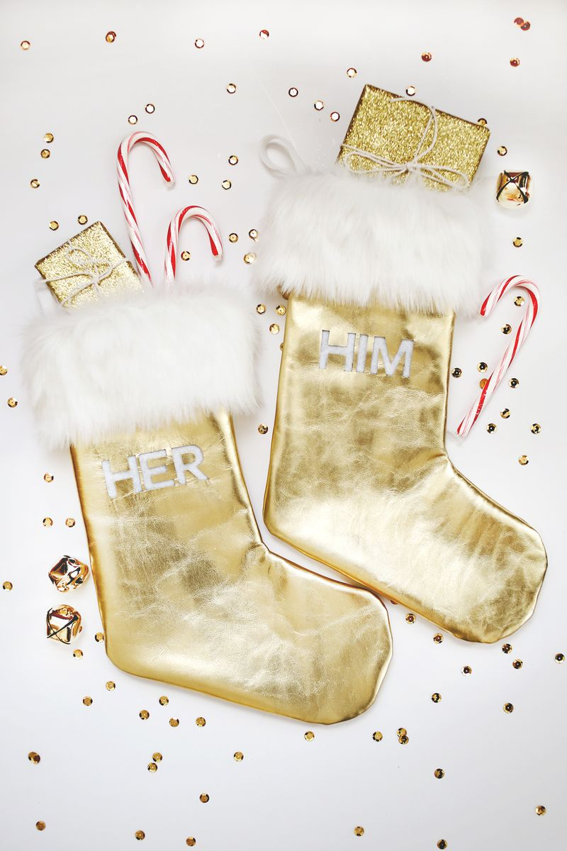 gold leater and fur modern christmas stocking
