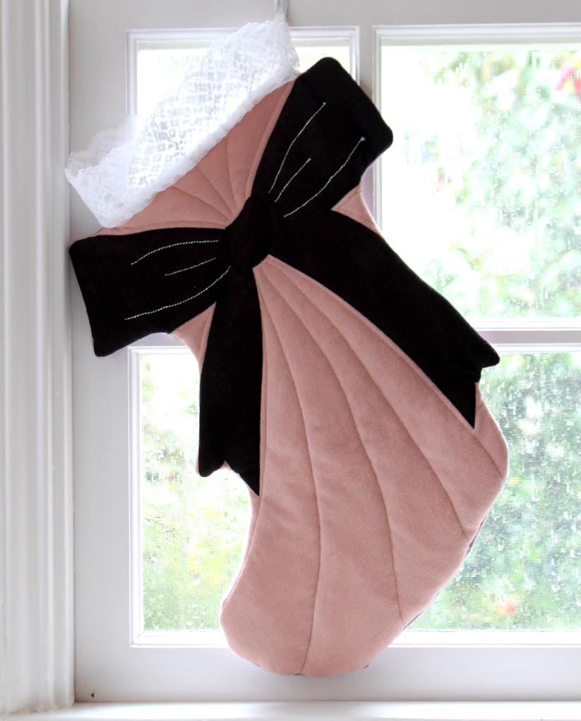 recycled t-shirt bow christmas stocking