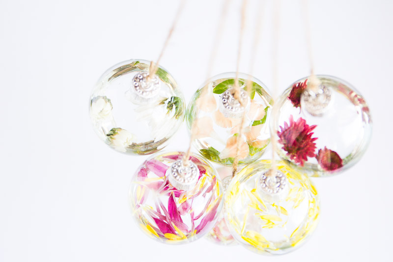 DIY Flower Glass Ornaments