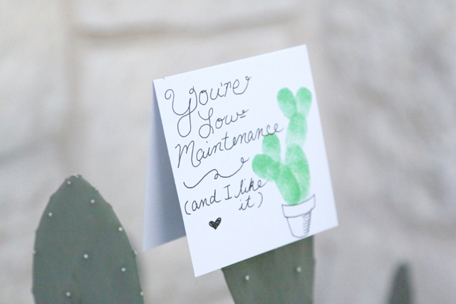 Fingerprint Cactus Valentine Easy DIY Valentines Day