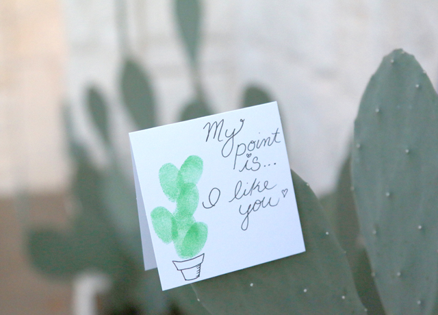Fingerprint Cactus Valentine: Easy DIY Valentine's Day Card