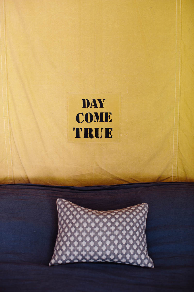 DIY Canvas Tarp Stencil Headboard