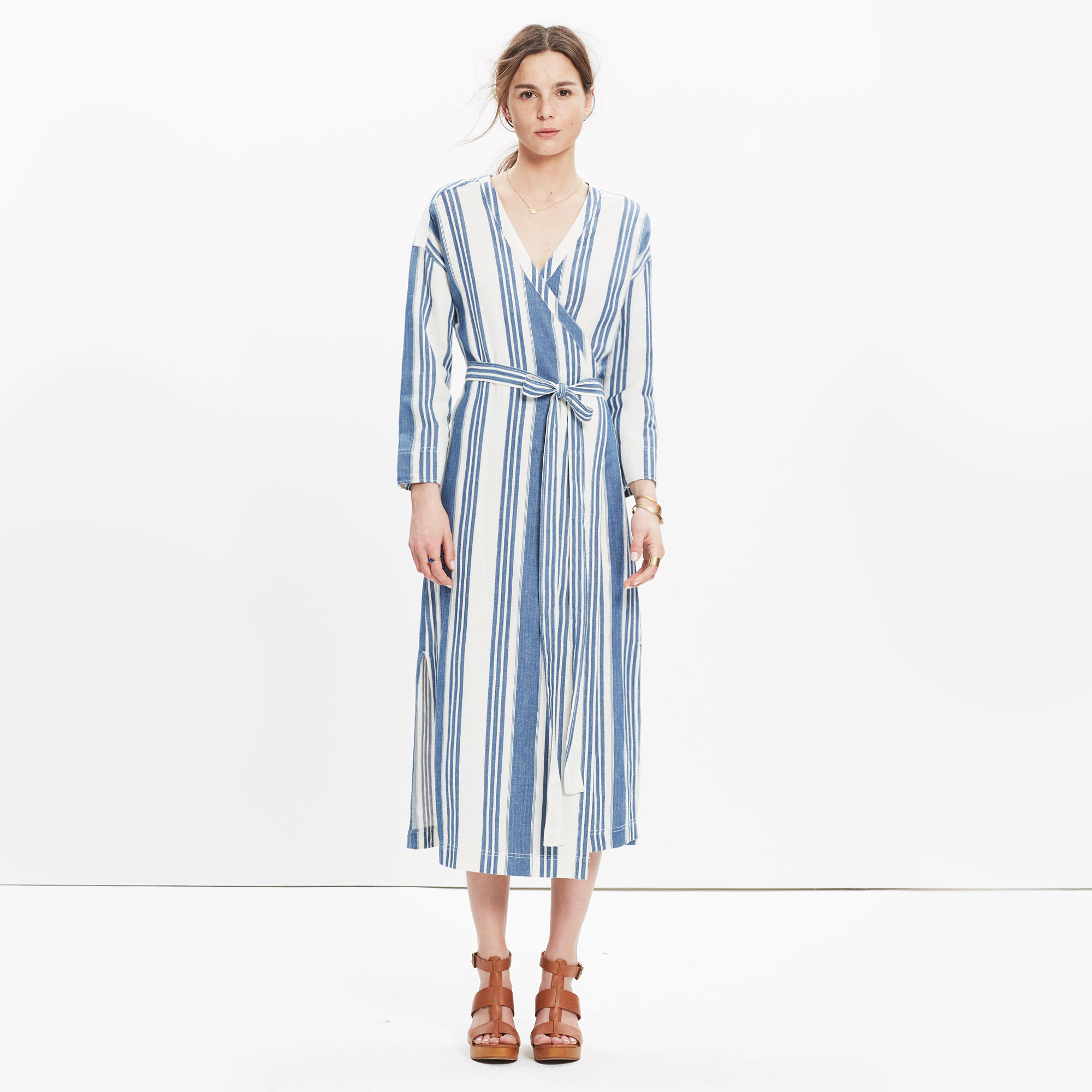 Madewell Linn Stripe Midi Dress