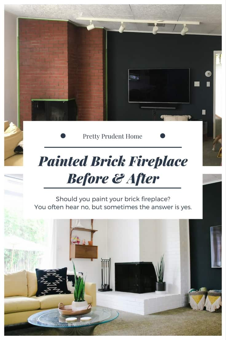 Painted Brick Fireplace Before and After Pics
