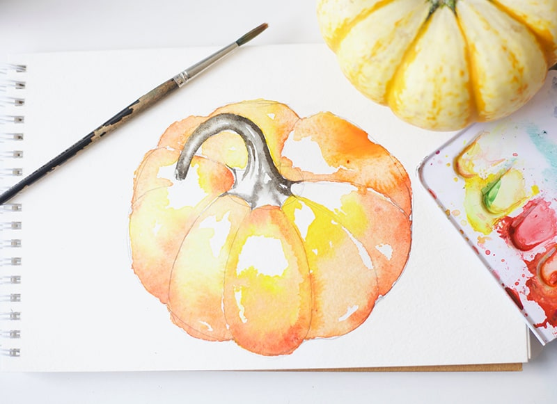 How to Paint A Watercolor Pumpkin