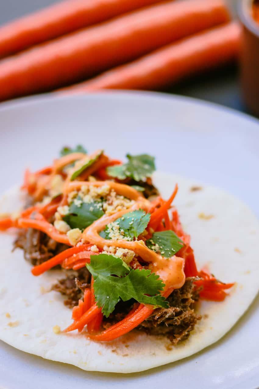Image of an Asian Taco with Pickled Carrots