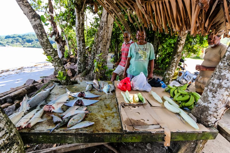 Image of ray and shark meat for sale on Mahe, Seychelles