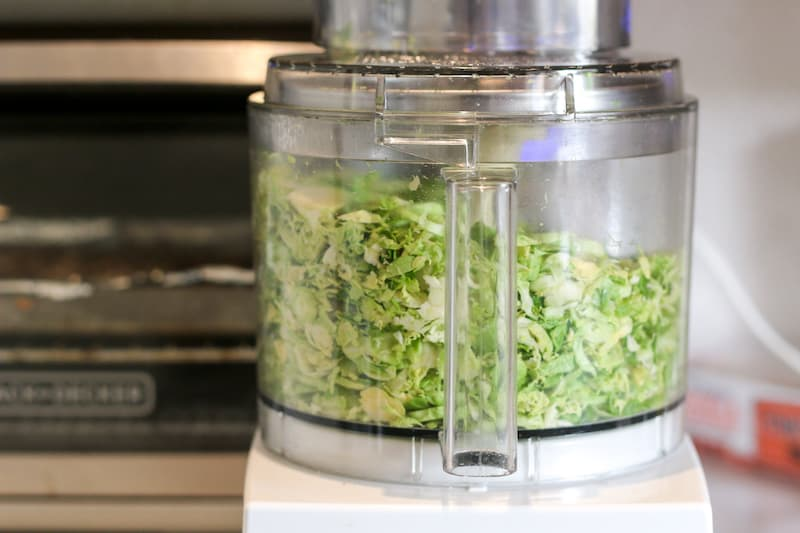 Shaved brussel sprouts in the food processor