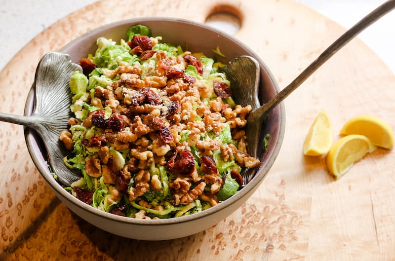 Shaved Brussels Sprouts Salad with Walnuts