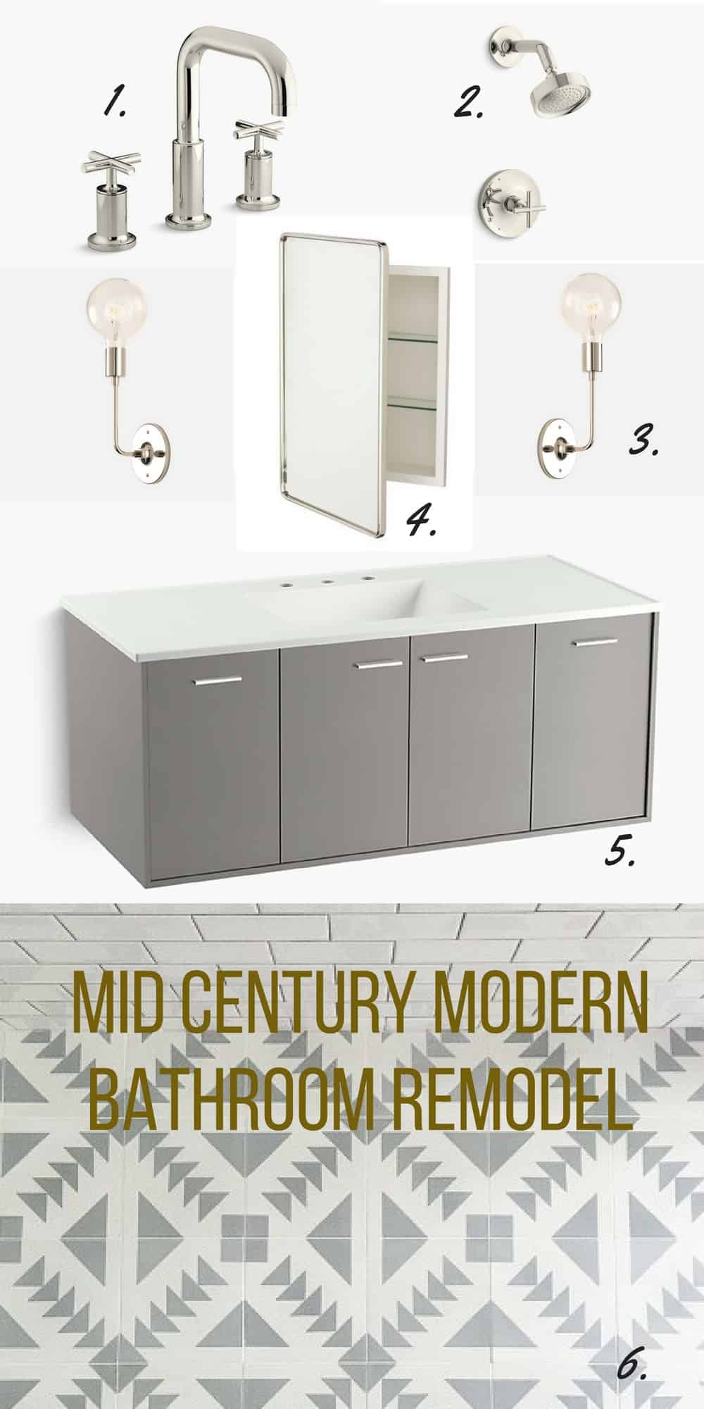Collage Of Mid Century Modern Bathroom Remodel Fixtures