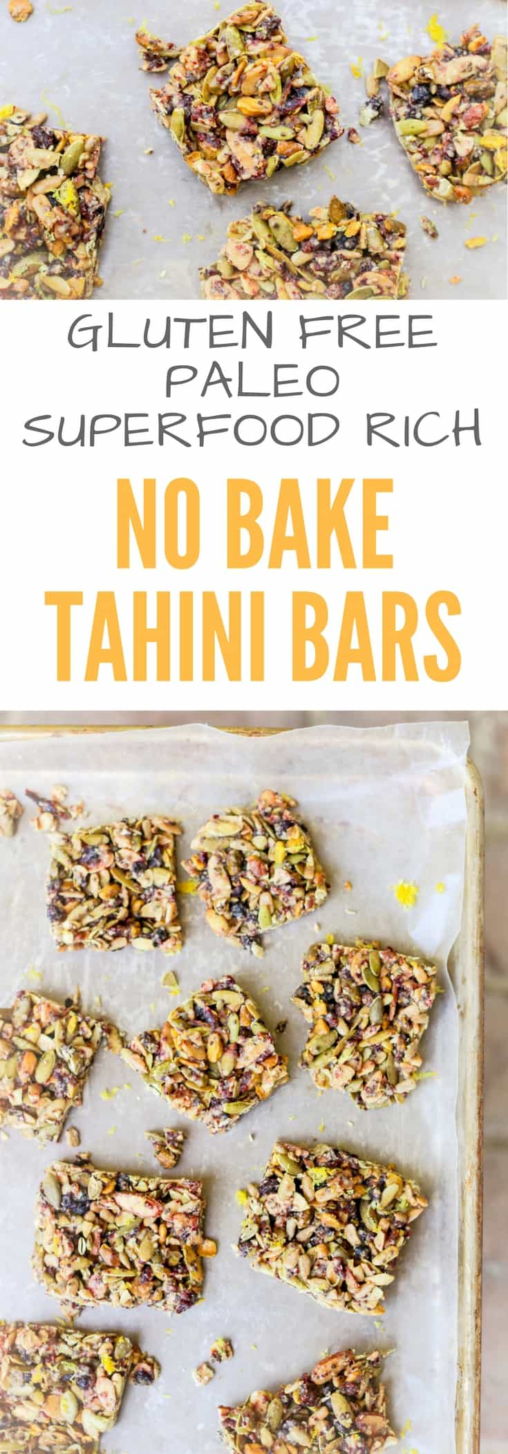 No Bake Tahini Bars Recipe - Gluten Free, Paleo, Meal Planning Breakfast Bars packed with superfoods