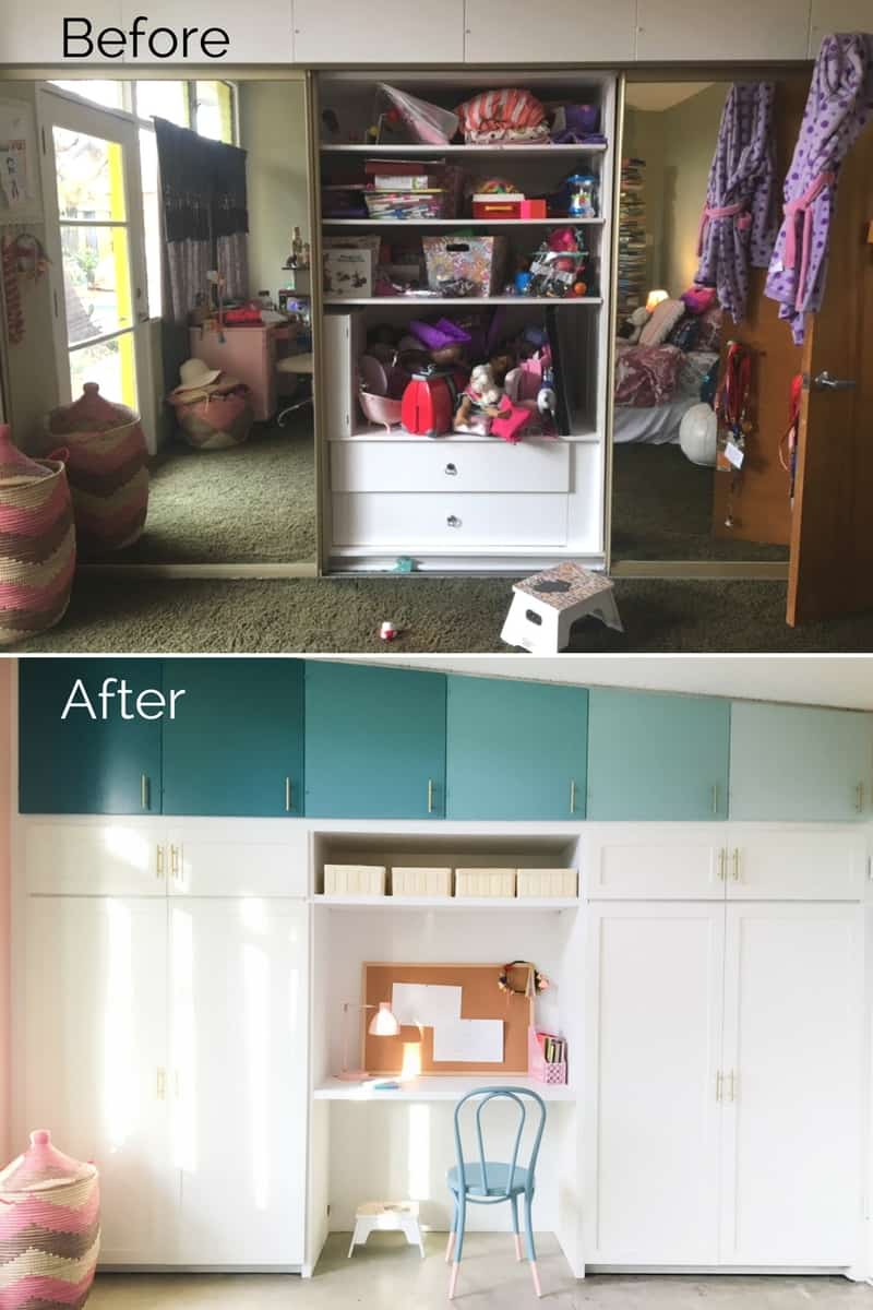 Girl's bedroom makeover before & after. From 70's shag to clean, modern and sweet.