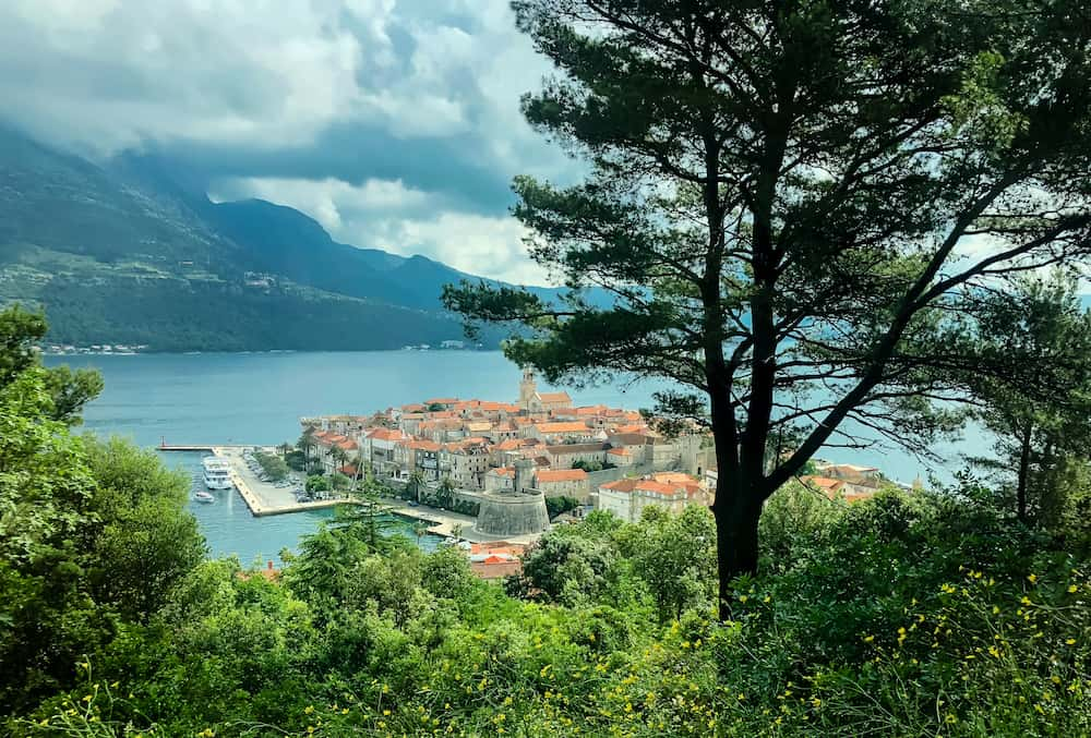 Image of Old Town Korcula from on a hill above town