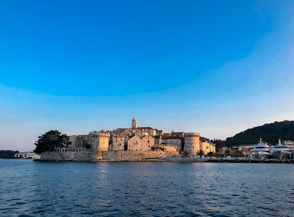 Image of Old Town Korcula from the sea