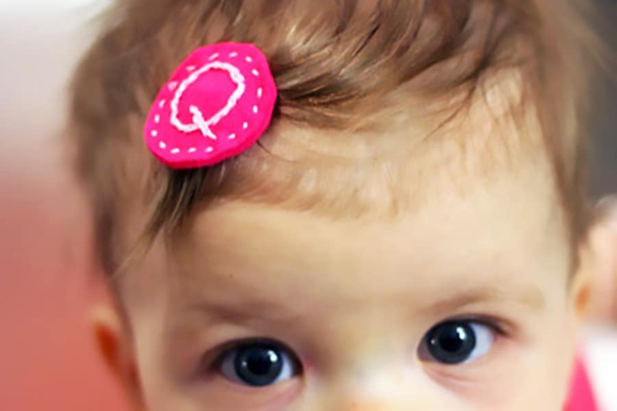 baby Embroidered Hair clip