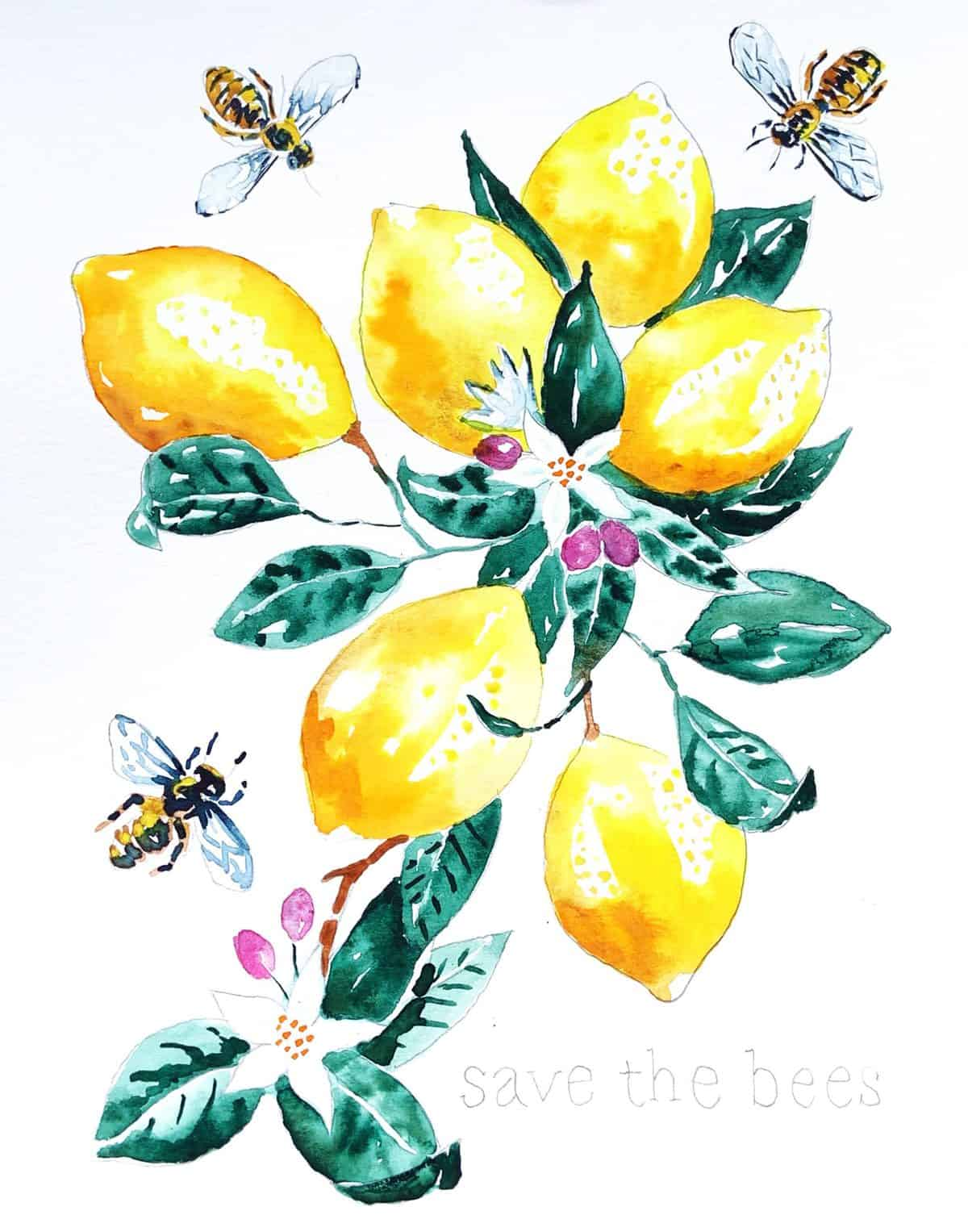 Lemons and Bees Watercolor Paint