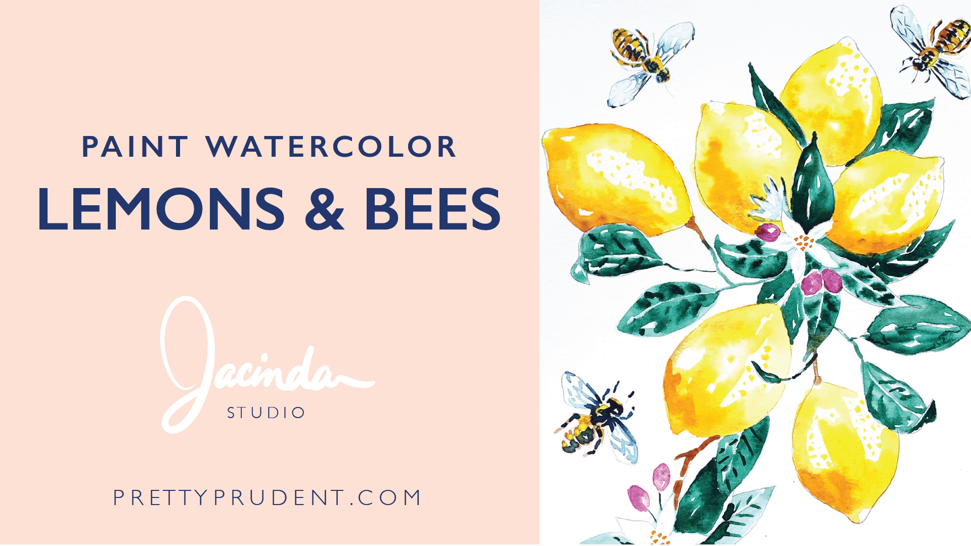 Watercolor Paint Lemons and Bees