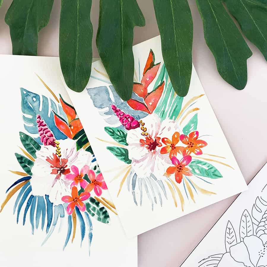 How to Paint Watercolor Tropical Flowers Video Tutorial