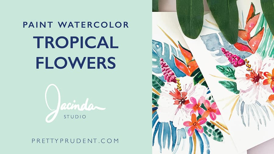 How to paint watercolor tropical flower Video Tutorial